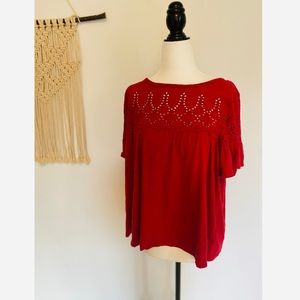 J.Crew Red Eyelet Top in Vintage Cotton size m